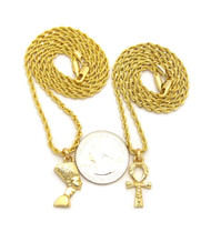 Ankh Cross Queen Nefertiti Pendant Chain 14K Gold