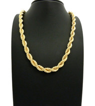 14k Gold 8mm Rope Link Chain Necklace