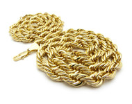 14k Gold Mens Hip Hop 10mm Rope Chain Necklace Set