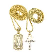 14k Gold Ankh Cross Simulated Diamond Dogtag Set