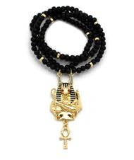 14k Gold GP Egyptian God Anubis Floating Ankh Cross Pendant