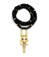 Golden Egyptian God Anubis Floating Nefertiti Pendant