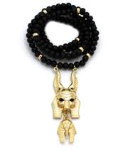 Golden Egyptian God Anubis Floating King Tut Pendant