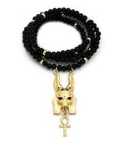 Golden Egyptian God Anubis Floating Ankh Cross Pendant
