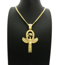 14k Gold GP Goddess Isis Eye of Ra Simulated Diamond Chain