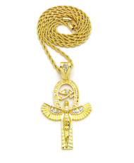 14k Gold GP Goddess Isis Eye of Ra Simulated Diamond Chain