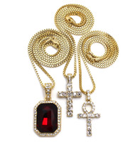 14k Gold GP Diamond Cz Ruby Ankh Cross Pendant Set