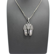 Black Hematite King Tut Egyptian Pendant Box Chain