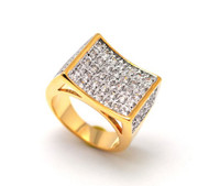 14k Gold Iced Out Classic Simulated Diamond Concave Ring Size 11