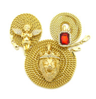 14k Gold Guardian Angel Lion Of Judah Gemstone Pendant Set