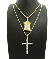 14k Gold Jesus Piece Cross Simulated Diamond Pendant Set