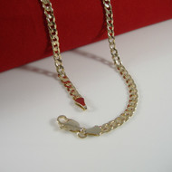 "4mm 20"" Concave Cuban Link Chain Necklace 14k Gold GP"