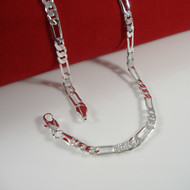 "4.8mm 20"" Figaro Link Chain Necklace 925 Silver"