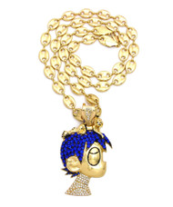 14k Gold GP Iced Out Peanuts Gang Inspired Schroeder Pendant