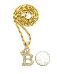 14k Gold GP Crowned Initial B Simulated Diamond Chain Pendant