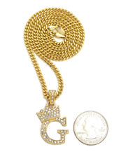 14k Gold GP Crowned Initial G Simulated Diamond Chain Pendant