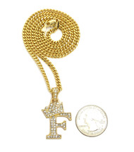 14k Gold GP Crowned Initial F Simulated Diamond Chain Pendant