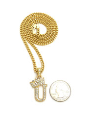 14k Gold GP Crowned Initial U Simulated Diamond Chain Pendant
