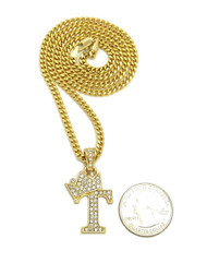 14k Gold GP Crowned Initial T Simulated Diamond Chain Pendant