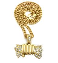 14k Gold Old School Hip Hop Money Fist Pendant