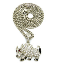 Travis Scott Inspired Bull Pendant Cuban Link Chain Necklace Silver