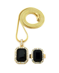 Simulated Diamond Black Onyx Pink Ring Gemstone Pendant Set