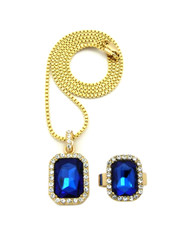 Simulated Diamond Blue Onyx Pink Ring Gemstone Pendant Set