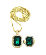 Simulated Diamond Green Onyx Pink Ring Gemstone Pendant Set