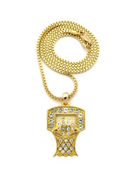 14k Gold Basketball Hoop Backboard Diamond Cz Pendant Chain
