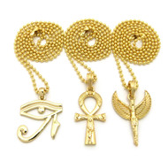 Goddess Isis Ankh Cross Eye Of Heru Hip Hop Pendants Set 14k