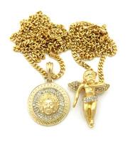 14k Gold Double Medusa Square Hip Hop Medallion Pendant