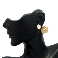 8mm Simulated Diamond 14mm Round Filigree Ball Bling Earrings