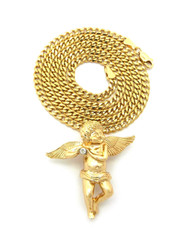 14k Gold Diamond Cz Angel Cherub Pendant Concave Cuban Chain