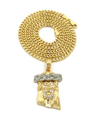 14k Gold Crown of Thorns JESUS Pendant Concave Cuban Chain