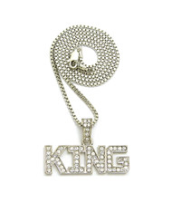 .925 Rhodium Silver Hip Hop King Diamond Cz Bling Pendant