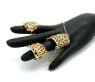 Ladies 3 Finger Slave Studded Diamond Cz Chains Rings Set