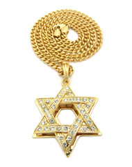 14k Gold Star Of David Simulated Diamond Cuban Link Chain