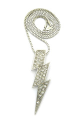 Iced Out Diamond Cz Lightning Bolt Chain Pendant