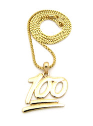 Hip Hop Keep it 100 Emoji Pendant Chain Necklace