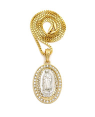 14k Gold Virgin Mary Diamond Cz Stone Pendant Box Chain