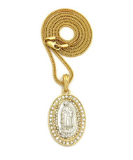 14k Gold Virgin Mary Diamond Cz Stone Pendant Franco Chain