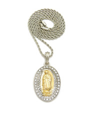 .925 Silver Virgin Mary Diamond Cz Stone Pendant Rope Chain