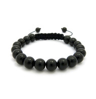 10mm Black Glass Bead Adjustable Rope Bracelet