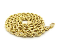 14k Gold 7mm Rope Link Chain Necklace