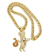 14k Gold Dough Boy Pendant 30 Inch Iced Out Cuban Link Chain