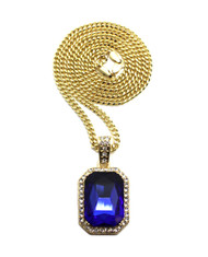 Blue Onyx Shield Simulated Diamond Iced Out Pendant Cuban Link