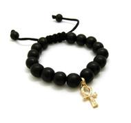 Egyptian Ankh Cross 14k Gold Wood Bead Bracelet
