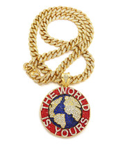 14k Gold The World Is Yours Scarface Cuban Link Iced Out Pendant