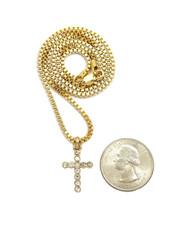 14k Gold Handset Simulated Diamond Cross Micro Pendant