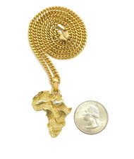 14k Gold Mother Africa Nugget Cuban Chain Pendant